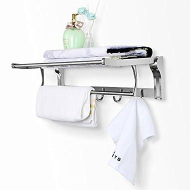 REIDEA Bath Towel Rack 23 inch Bathroom Shelves, Foldable Wall Mounted Double Towel Holder with Towel Bar, Polished 304 Stainless Steel Towel Shelf