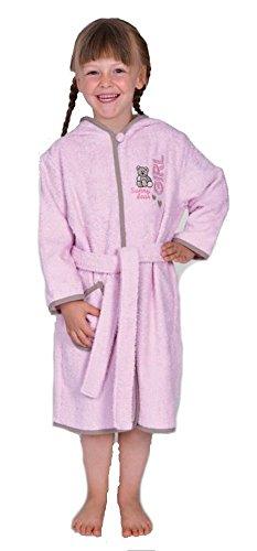 'WÖRNER Gant Sunny Bear Rosé Lits d'enfants Peignoir, Bavoir, des Serviettes, Gant de Toilette Poncho, Pyjama, Bademantel, 110/116