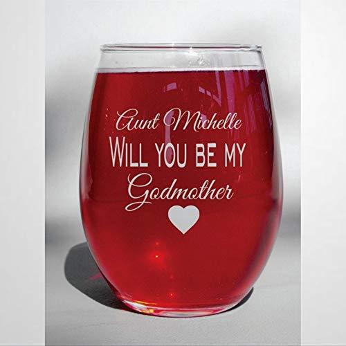 Vaso de whisky con grabado láser con texto en inglés 'Will You Be My Godmother' Baptism Present Godmother', idea única de novedad para él, ella, mamá, esposa, jefe, hermana, 445 ml
