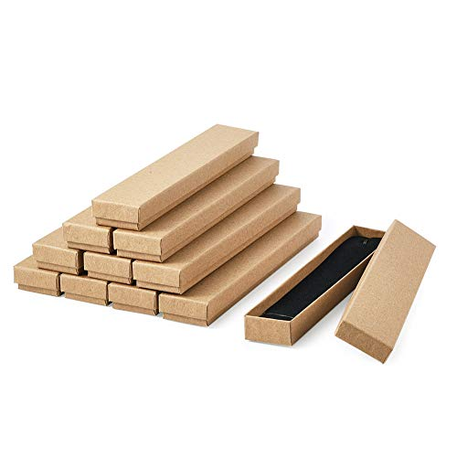 Craftdady 12 cajas de cartón marrón kraft rectángulo largo con tapa, cajas de regalo para collares, relojes, regalos
