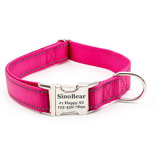 Personalized Dog Collar, Reflective Custom Dog Collar with Name Phone Number Adjustable Size (XS S M L) (Hot Pink)