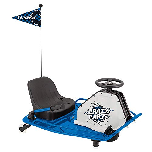 Razor High Torque Motorized Drifting Crazy Cart with Drift Bar for Ages 9 & Up, Speeds up to 12 MPH, Blue