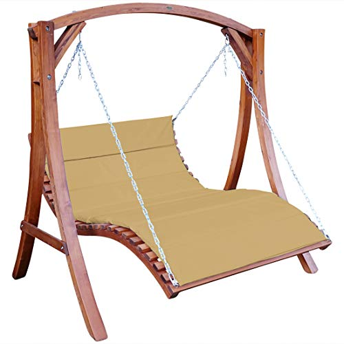 ASS Design Hollywoodliege Hollywoodschaukel Aruba-OD aus Holz Lärche ohne Dach BRAUN von