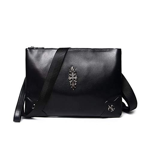 LaLa POP Lightweight Men's New Clutch Bag Trend PU Soft Leather Handbag Large Capacity Portable Casual Business Bag Rivet Decorative Envelope Bag