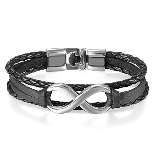 JewelryWe Schmuck Herren Damen Armband, Lieben Infinity Zeichen Geflochten Armreif, Leder Legierung, Silber schwarz