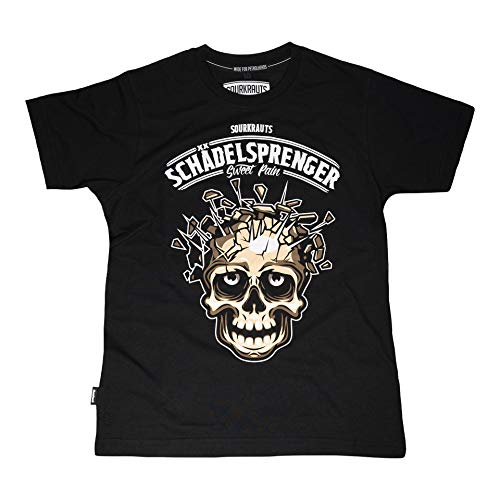 SOURKRAUTS Camiseta de manga corta para hombre con diseño de calavera, parte superior negra de algodón, diferentes tamaños, fabricada en Europa Negro XXL
