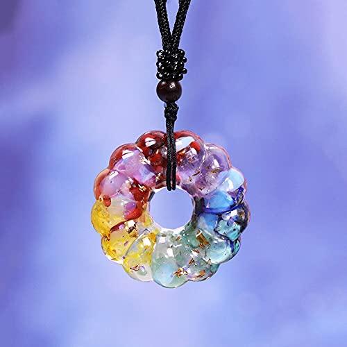 NIUBKLAS Collar con Colgante de 7 Chakras, Collar de Cristales curativos, Colgante de Cristal arcoíris, joyería de Resina para meditación y Yoga