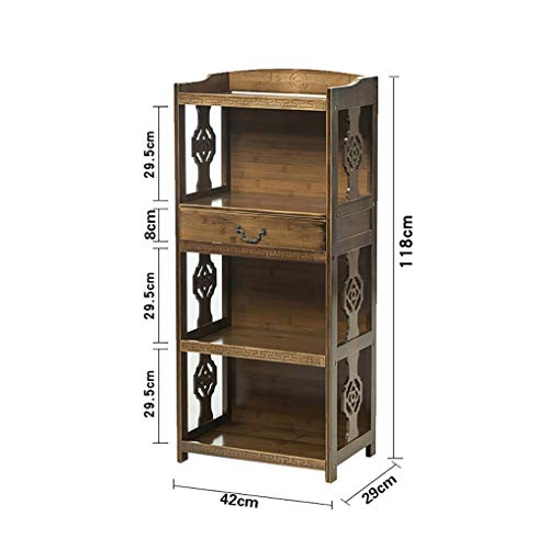 DD- Boekenplank Op De Vloer Boekenkast Bamboe Met 1 Lade, Rustieke Landelijke Stijl Plank, 4-vaks Vitrinekast for Boeken, Potplant