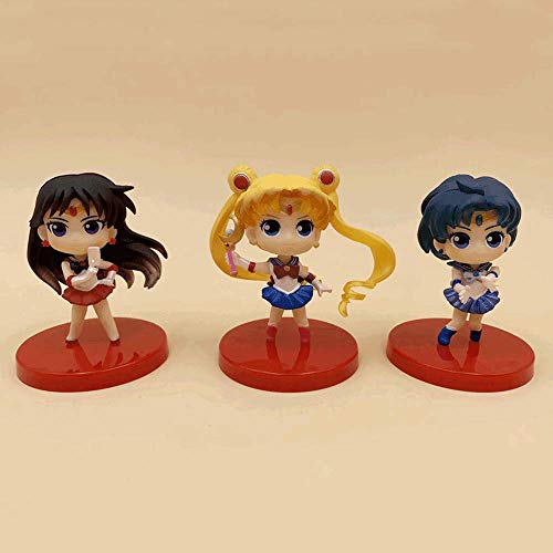 NAMFZX Sailor Moon Muñeca de Ojos Grandes Agua Hielo Luna Luna Liebre Marte Versión Q Caja Huevo Hecho a Mano Modelo de Personaje de Anime 8cm (3.15in) Estatua estática de PVC Juguet