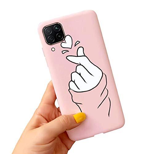 ZhuoFan Funda Huawei P40 Lite 4G, Cárcasa Silicona Rosa con Dibujos Diseño Suave Gel TPU Antigolpes de Protector Piel Case Cover Fundas para Movil Huawei P40 Lite 4G / Nova 6 SE, Dedo del corazón