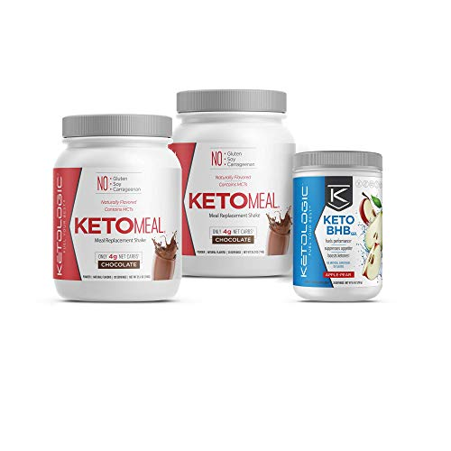 KetoLogic Keto 30 Challenge Bundle: Tim Tebow Approved | 30-Day Supply Keto Meal Replacement Shakes with MCT & BHB Exogenous Ketones Powder | Kickstarts Your Ketogenic Diet | Chocolate & Apple Pear