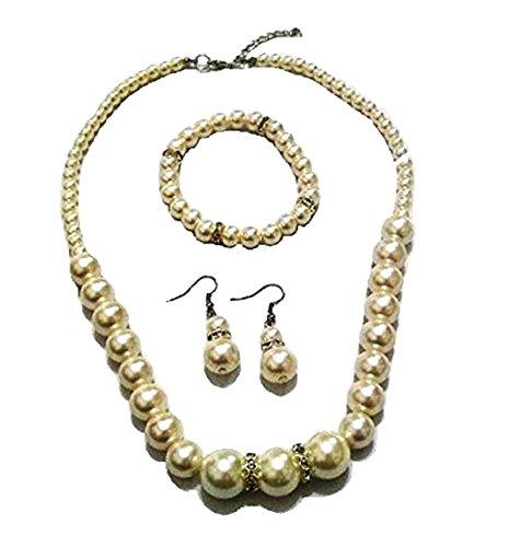 fashionjewellery4u Juego de collar y pendientes de perlas de color crema marfil con pulsera flexible para dama de honor para mujeres y niñas
