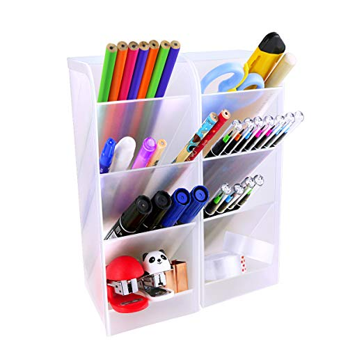 Newbested 2 Pack Large Desk Organizer,Big Plastic Pencil Pen Storage Organizer Holder with 8 Compartments for Office,School,Home Supplies Desk Accessories(Translucent White)
