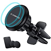 VANMASS Car Phone Holder Magnetic Air Vent 360° Rotation Cell Phone Mount,Universal Car Cradle with 6 Strong Magnet and Metal Plate for iPhone Xs Max XR X 8 Plus,Samsung Note 9 S10 S9 S8 S7 Huawei etc