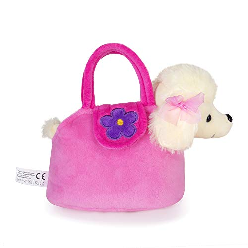 Lazada Girls' Plush Puppy Purse Toddler Carrying Bag Toy Poodle Dog 6' in High