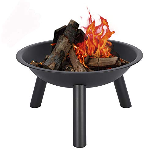 Hemousy Outdoor Fire Pit 20' Simple Patio Steel Fire Bowl Wood Burning BBQ Grill Bonfire for Beach Yard Camping Picnic Pool Party Fishing(Without Lid or Poker)