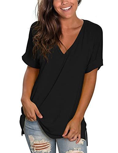 liher Womens V Neck Short Sleeve Plain T Shirt Casual Loose Summer Tunic Tops