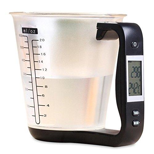 Jarra medidora de cocina, báscula electrónica, escala de taza de medición digital, dispositivo de pesaje termómetro con pantalla LCD de medición de taza accesorios de cocina
