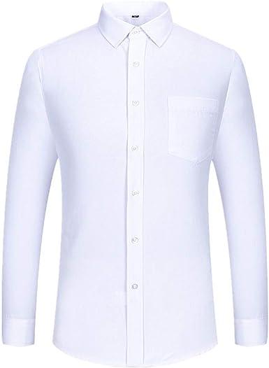 U/A Camisa blanca de manga larga para hombre de algodón para ...