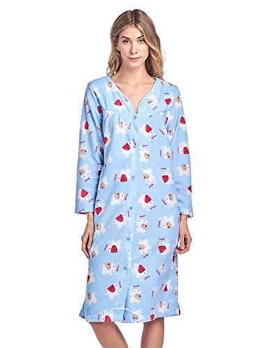 Casual Nights Damen-Kleid, bedruckt, Fleece, Snap-Front - Blau - XX-Large