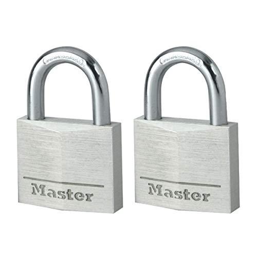 Master Lock 9140EURT Confezione da 2 Lucchetti a Chiave in Alluminio, Grigio, 4 x 5.9 x 1.3 cm