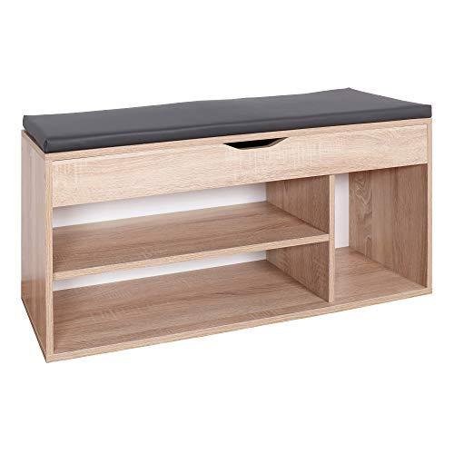 RICOO WM034-ES-A, Schuhregal, 104x49x30 cm, Holz Eiche-Sonoma, Sitzbank mit Stauraum, Sitztruhe,...