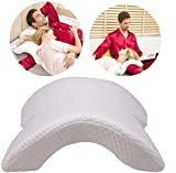 Jukkre Couple Pillow With Free Babydoll Nightwear Arched Memory Foam Pillow with Rebound Pressure Arm Support Portable Easy Anti-Hand Numb (White)