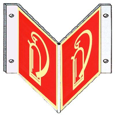 Brandschutzzeichen Brandschutzschild Feuerlöscher Winkelschild Kunststoff nachleuchtend 148 x 148 mm #692417
