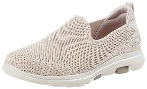 Skechers GO Walk 5 PRIZED, Zapatillas para Mujer, Beige (Tau