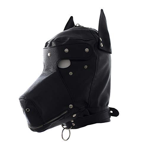 UYTE Bondage Leder Kopf M-Ask SM Kopf Má-sk, Hund Má-sk, Fetisch Erotik Einschränkungen geeignet für Paare Halloween-Kostüme Black