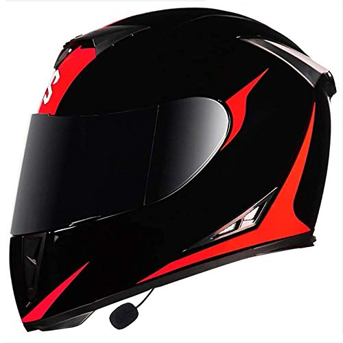 Motorcycle Bluetooth Helmets,Full Face Flip Up Dual Visors Motorbike Helmets,DOT/ECE Approved Helmet,Built-in Mp3 Integrated Intercom Communication System, for Men and Women 1, XL=(61~62CM)