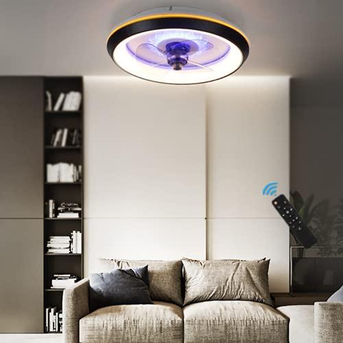 HGW Lámpara De Techo LED con Ventilador Moderno 80W Silencioso Luz De Techo con Ventilador con Mando A Distancia,Velocidad De Viento Ajustable, Fan Iluminación para Sala De Estar, Comedor, Dormitorio