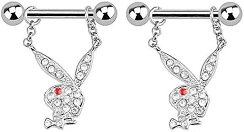 Pair of Nipple Rings Officially Licensed Clear cz Playboy Bunny Rabbit Jewelry Piercing bar Barbell Shield Ring- 14 Gauge 14g