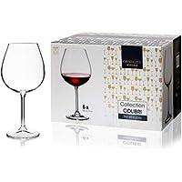 Juego de 6 copas de vino de 650 ml, cristal de Bohemia