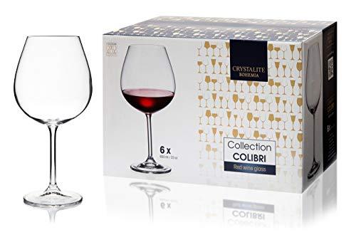 Bohemia - Juego de 6 copas de vino de cristal blanco o tinto de 650 ml, caja de regalo de cristal puro, apto para lavavajillas, transparente perfecto para el hogar, restaurantes y fiestas.