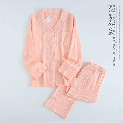 XFLOWR Primavera Otoño Parejas Conjuntos de Pijamas Mujeres 100% Crape Algodón Pijamas Color Puro Mujeres Simples Pijamas de Interior Mujer Ropa de Dormir XL Mujeres Rosa
