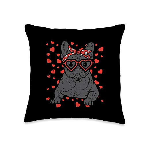 Valentines Day Pillows 2021 Men Women Kids Gifts French Bulldog Heart Glasses Valentine Day Frenchie Dog Gift Throw Pillow, 16x16, Multicolor