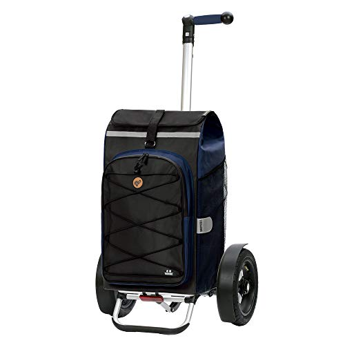 Andersen Shopper Tura Alu klappbar mit Luftreifen Ø 29cm und 72 Liter Tasche Fado 2.0 mit Kühlfach blau