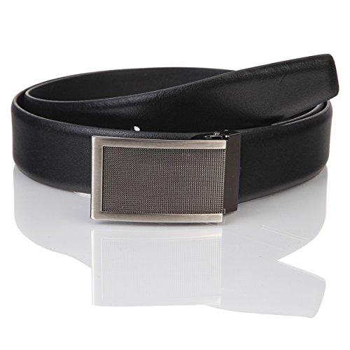 Lindenmann Mens leather belt/Mens belt, business belt, leather belt curved with plate buckles, black, Größe/Size:105, Farbe/Color:noir