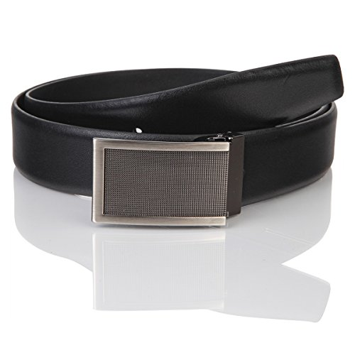 Lindenmann Mens leather belt/Mens belt, business belt, leather belt curved with plate buckles, black, Größe/Size:105, Farbe/Color:noir