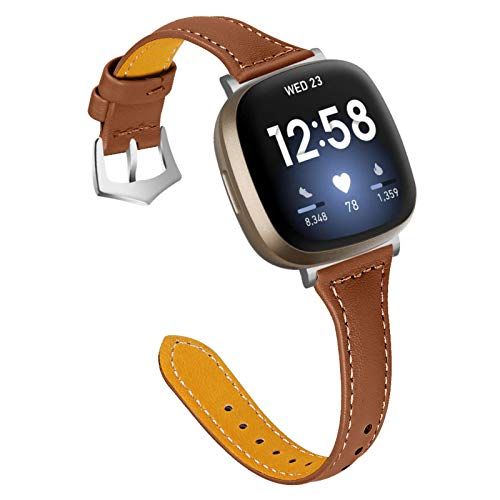 Gimart UK Lederarmband kompatibel für Fitbit Versa 3/Fit bit Sense, Damen Herren Slim Echtes Leder Sport Band Ersatz Uhrenarmband Armband für Versa 3 Fitness Smart Watch Klein Groß (Braun)