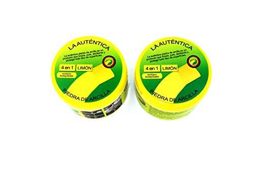 La Autentica Piedra de Arcilla Ecológica y Biodegradable 2 botes con 2 esponjas - 500 gr cada uno de los botes