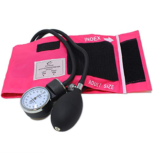 Dixie EMS Pink Deluxe Aneroid Sphygmomanometer Blood Pressure Set W/ Adult Cuff, Carrying Case And Calibration Tool