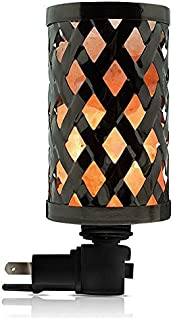 Himalayan glow 1809B Lattice Style Basket Lamp Night Light with Pink Salt Chunks   360 Degree Rotatable Wall Plug,Ideal Gift for Home Décor