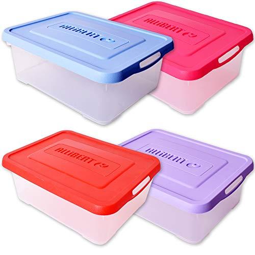 teprovo Allibert 4 Stück Boxen Aufbewahrung Aufbewahrungsbox Box Deckel Lagerboxen Kunststoff 12 L Transparent