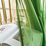 PENVEAT Gradient Printed Tüll Transparente Gardinen Wohnzimmer Schlafzimmer Küche Haus Gardinen Dekor Tüll am Fenster, Grün, 1 Stück 250cm x 270cm, 4.Tape für Hooks