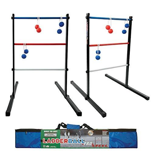 Maranda Enterprises Ladder Ball Pro Steel Toss Indoor/Outdoor Game Set 6 Soft Rubber Bolas Balls, Zippered Travel Carrying Case, Black, Blue, red, White (MELBP1A-LBPBK)