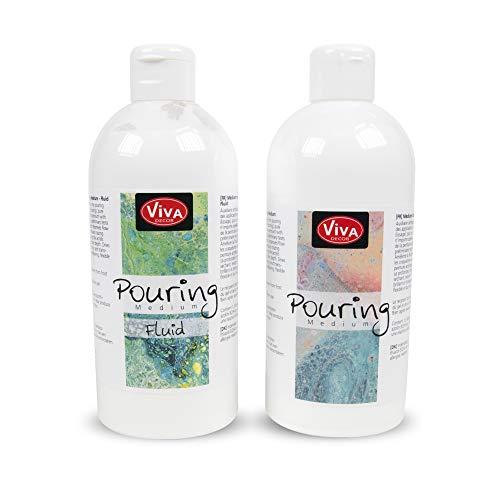 Viva Decor Pouring Kennenlern-Set Medium & Medium Fluid (2 x 500 ml) - Transparent, Gieß-Farbe, Acrylic-Pouring, Puddle-Pouring, Dirty-Pouring, Gieß-Medium