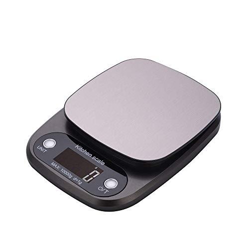 Electronische Waage 3 kg / 0,1 g Edelstahl Digitale Küchenwaage Lebensmittelwaage mit LCD-Display-Dark_gray