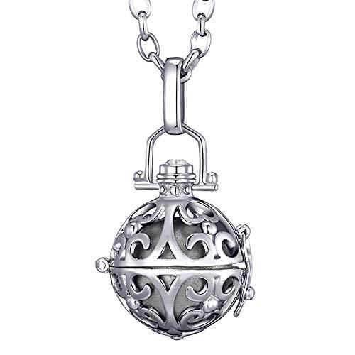 Morella® Damen Halskette Edelstahl 70 cm mit Ornament Anhänger und Klangkugel Silber Ø 16 mm in Schmuckbeutel